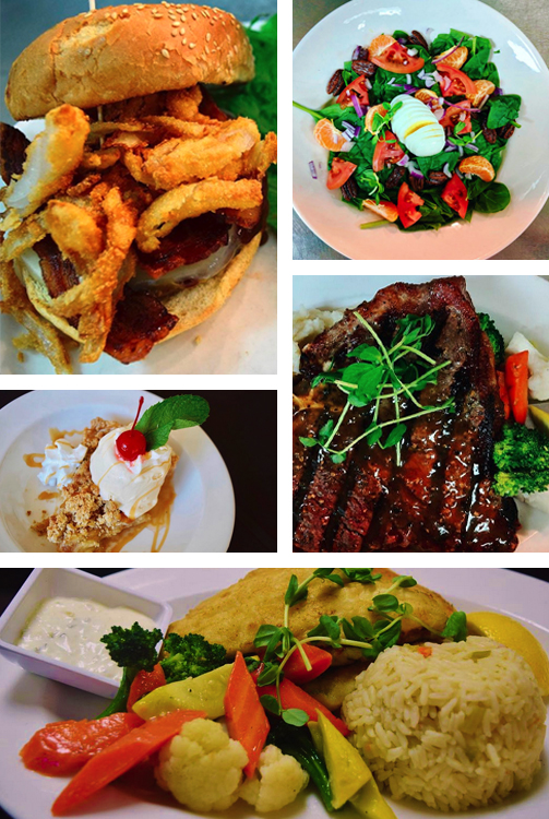 Collage of entrees served at Fly Away Cafe