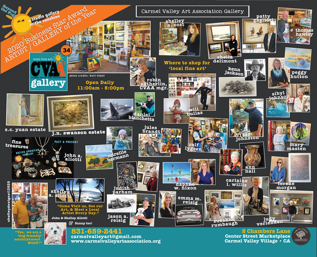 Photo collage of artists and their work